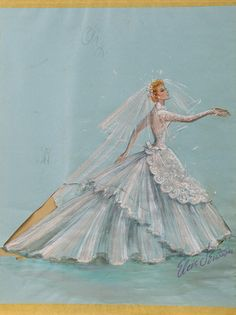 """Elois costume sketch for Lucille Ball """"Susan Vega"""" wedding dress in Forever Darling. (Desilu, 1951 - 1957) Original Elois Jenssen costume sketch for Lucille Ball as """"Susan Vega"""" in the romantic comedy Forever Darling. The sketch is accomplished in gouache on 15 x 20 in. blue artist paper tipped to backing cardboard. Sketch features a complete wedding dress with apron front and veil. """"OK'd"""" by Lucy in upper left. Signed by artist in lower right."""