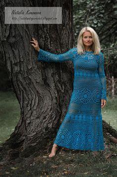 Outstanding Crochet: New Project. Crochet Turquoise Maxi Dress.