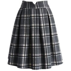 Chicwish Eternal Classic Plaids Woolen Midi Skirt in Grey ($40) ❤ liked on Polyvore featuring skirts, grey, wool skirts, plaid skirt, grey midi skirt, grey pleated skirt and grey plaid skirt