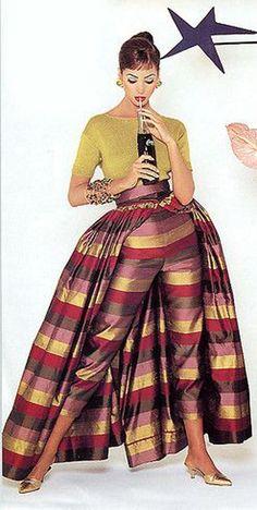 Ball Skirt Over Cigarette Pants: 50s 60s cigarette pants matching skirt gold red stripe girl model    ,