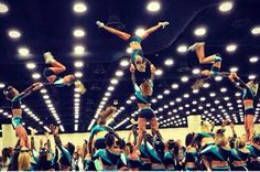 Cheer cheerleading stunt all star coed all girl tumble jump flyer flip soar Awesome competition competitive