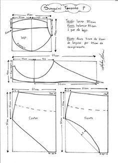 Esquema de modelagem de Biquini Retrô tipo Sunquini tamanho P.