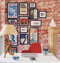 Eclectic art display office inspiration from Domino magazine