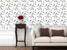 Falling Leaves - Grey Morning Self-Adhesive Wallpaper Home Accessories at Art.com
