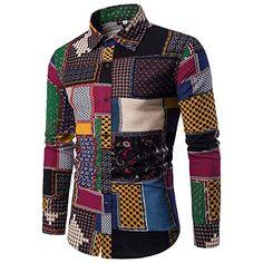 049575968 feiXIANG Chemise Homme Casual Manches Longues Homme Artistique Multicolore  Tissus de Lin Slim Fit Basic Loisirs