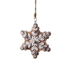 Tesco direct: Large Hanging Brown Wooden Snowflake Christmas Tree Decoration…