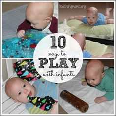 10 Ways to Play with Infants -- It may sound silly, but I think it can be a challenge to come up with ways to keep infants occupied. I don't want my baby to lay on a blanket all day, so what do I do? After having three babies, I've come up with 10 fun ways to PLAY with infants! If you have a baby, you will want to read this or pin for later!