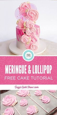 Spring Pop Cake (Meringue and Lollipop How to make a trendy spring pop cake! Made with meringue pops and homemade lollipops on a buttercream cake. So fun and easy! Cake Decorating Company, Cake Decorating Tools, Cake Decorating Techniques, Buttercream Cake Decorating, Buttercream Cake Designs, Lollipop Recipe, Lollipop Cake, Cupcakes, Cake Cookies