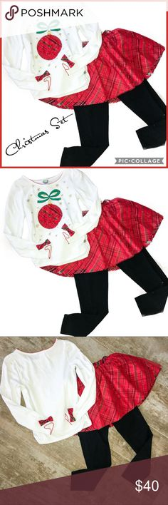 Dollie & Me Girl Red Christmas Tutu/Legging Set 10 🎄Dollie & Me Girl Red Christmas Tutu/Legging Set 10 - Worn Once - *Excellent Condition*🎄 Dollie & Me Matching Sets