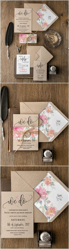 We Do ! <3 Eco Rustic floral wedding invitations - calligraphy printing, eco papers, floral patterns with addition of twine $4,80 per set #eco #ecofriendly #rustic #weddingideas
