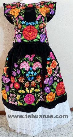 T61 Tehuana flores de colores florecitas azules