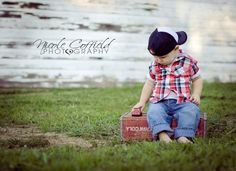 toddler boy photo session - plaid shirt, toy truck, old crate, old barn vintage country theme