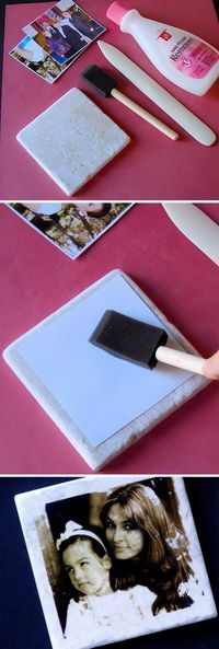 DIY Ideas & Tutorials for Photo Transfer Projects Transfer Pictures to Tiles by Using Nail Polish Remover.Transfer Pictures to Tiles by Using Nail Polish Remover. Photo Projects, Diy Projects To Try, Crafts To Make, Fun Crafts, Art Projects, Arts And Crafts, Diy Photo, Photo Craft, Craft Gifts