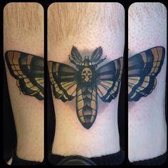 Death head moth tattoo. Steve Pearson. Distinction tattoo. Dayton, Ohio.