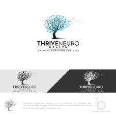 Identity Design for Thrive Neuro Health #logo #design #neuro #brain #tree #particles #artistic