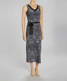 Loving this Modern Touch Gray & Silver V-Neck Maxi Dress on #zulily! #zulilyfinds