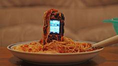 Testing a tough phone in spaghetti Spaghetti, Phones, Telephone, Noodle
