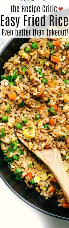 Fried Rice is a combination of long grained rice, mixture of warm peas, carrots and onions with scrambled eggs mixed all together! You will not be getting take out any longer! An easy and delicious fried rice that will go perfectly to any chinese dish! Rice Recipes, Asian Recipes, Chicken Recipes, Dinner Recipes, Cooking Recipes, Healthy Recipes, Ethnic Recipes, Recipies, Rice Dishes