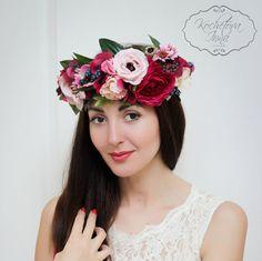 Purple and pink flower crown Flower hair wreath Wedding floral crown Bridal flower crown Floral halo Girl flower crown Flower crown