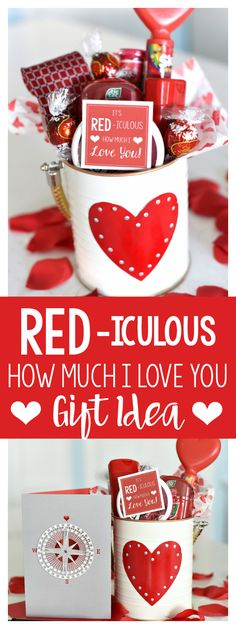 "AD-Cute Valentine's Gift Idea-Red Themed Items and Cute Tag That Says ""It's RED-iculous How Much I LOVE You!"" and finish it off with a handwritten Hallmark card. Valentines Day Cookies, Cute Valentines Day Gifts, My Funny Valentine, Valentine Day Crafts, Kids Valentines, Cute Valentine Sayings, Love Quotes For Boyfriend Cute, Boyfriend Gifts, Boyfriend Girlfriend"