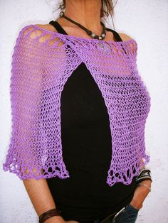 Cotton knit capelet, wedding cover up for women, lilac cotton poncho cape, bridal capelet, party dress cover up - Crochet capas - Damenmode Poncho Cape, Poncho Dress, Knitted Capelet, Vegan Clothing, Lilac Dress, Summer Knitting, Shawls And Wraps, Crochet Top, Knitwear