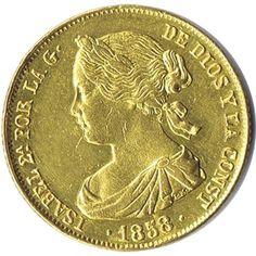Moneda de oro 100 Reales Isabel II 1858 Sevilla.