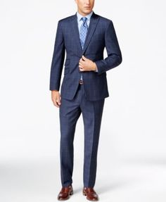 Tommy Hilfiger Trim Fit Gray Pinstriped Two Button Wool Suit With Peak Lapels