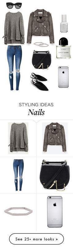 """""""Feeling Gray"""" by stephc on Polyvore featuring WithChic, Le Specs, SANCIA, Essie and Byredo"""