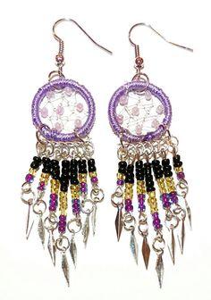 Handmade Purple Dream Catcher Earrings