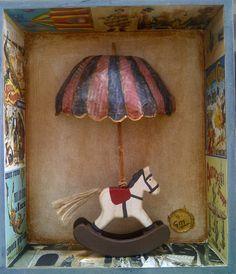 """""""LLueven Recuerdos"""".  Collage. Caja/Arte. Caja de Madera conteniendo objetos. Madera, papel."""