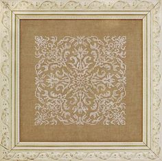 Damask Square : counted cross stitch patterns Ink Circles monochromatic embroidery