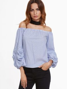Blue Vertical Striped Off The Shoulder Billow Sleeve Top