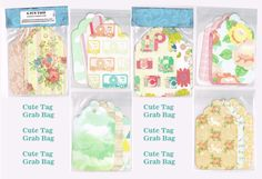 Cute tag grab bag, 5-inch tall, pretty paper tags for scrapbooking, snail mail, planners, paper crafts. Floral, chevron, cameras, paisley #OPERATIONSNAILMAIL
