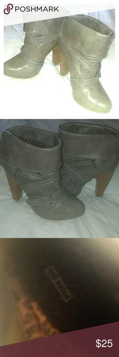 Not Rated Gray Boots Suoer cute pair of Not Rated ankle boots. Only worn 5 or 6 times. I'm normally a size 8 1/2 but these fit fine with a thick pair of socks. Not Rated Shoes Ankle Boots & Booties