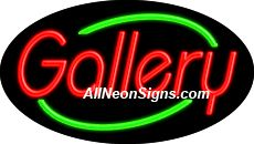 "Gallery Flashing Neon Sign-ANSAR14210  Dimensions: 17""H x 30""L x 3""D  Custom colors ship in 5-7 business days  110 volt flasher transformer  Cool, Quiet, and Energy Efficient  Hardware & chain are included  Comes standard with 6' power cord  Indoor use only  1 Year Warranty/electrical components  1 Year Warranty/standard transformers."