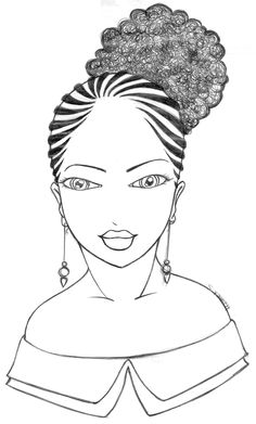 How to draw afro hair in fashion design sketches step by