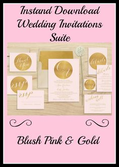 Pink Gold Wedding Invitation Printable   Monogram Wedding Invitation Suite   Initials Wedding Invitation Set   Blush Pink   Modern   PDF. #weddingideas #weddinginvitations #ad
