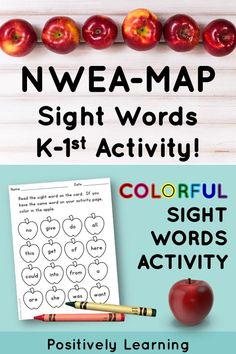 Test prep for the NWEA MAP test is easy AND effective with this sight word kit! There are sight word printables, a colorful activity, mini flashcards, and a progress monitoring page. These are the sight words aligned with the Primary Reading assessment (kindergarten and first grade). #nweamap #maptest
