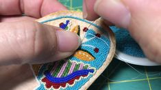 Beadwork on brain tanned buckskin done by two-needle method using size and antique beads. Also used are antique micro brass sequins. Beaded Bracelet Patterns, Beading Patterns, Embroidery Patterns, Beaded Shoes, Beaded Moccasins, Beading Projects, Beading Tutorials, Brick Stitch Earrings, Beading Techniques