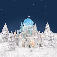 """Department 56: Products - """"Crystal Ice Palace"""" - View Lighted Buildings Dept 56 Snow Village, Christmas In The City, Light Building, Department 56, Christmas Villages, Palace, Places To Visit, America, Mantels"""