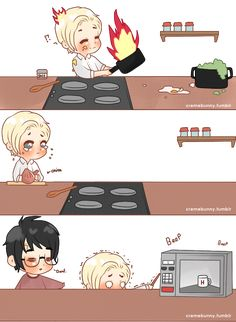 Chibi Drarry - Who Cooks? by Cremebunny on DeviantArt