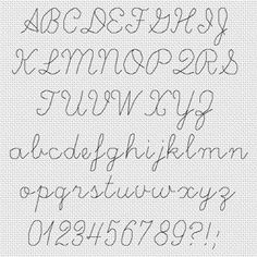 cursive cross stitch font - Google Search                                                                                                                                                                                 More