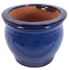 "Round Self Watering Glazed Ceramic Pot - Ocean Blue - 6"""""