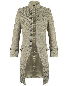 Pentagramme Mens Jacket Cream Brocade Gothic Steampunk Victorian Frock Coat   eBay