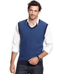 Club Room Vest, Mini-Stripe Sweater Vest - Mens Sweaters - Macy's