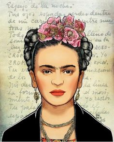 Check out the flowers in Kahlo's hair.