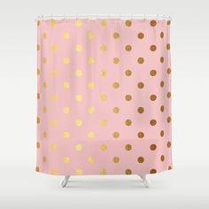 #Golden #polka #dots on #rosegold backround  #ShowerCurtain