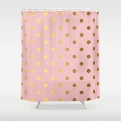 Golden polka dots on rose gold backround  Shower Curtain