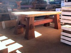 Timber Frame Elephant Table  - custom made-to-order at Rare Earth Hardwoods.