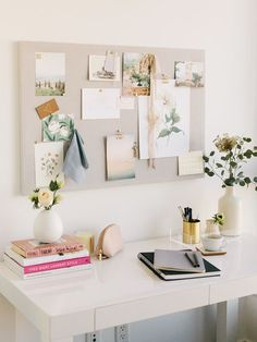 desk decor Looking for a simple, inexpensive DIY pinboard tutorial Using corkboard and linen, our DIY pinboard is perfect for your office, kitchen, and more! Home Office Space, Home Office Design, Home Office Decor, Office Ideas, Feminine Office Decor, Work Desk Decor, Cute Desk Decor, Desk Decorations, House Design
